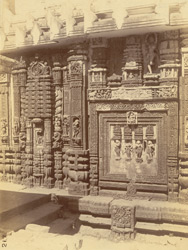 Close view showing sculptural detail of the left half of the south façade of the Lakshmi Temple, a minor temple in the courtyard of the Jagannatha Temple, Puri